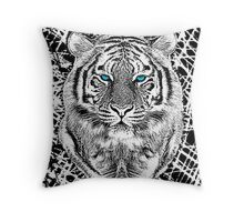 Tiger Portrait Black and White in Graphic Etching Style Throw Pillow