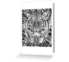 Tiger Portrait Black and White in Graphic Etching Style Greeting Card