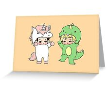 Dinosaurs vs. Unicorns Greeting Card