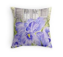 Irises and Lace Throw Pillow