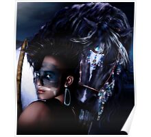 Midnight Ride - Iroquois Native American horse and rider Poster