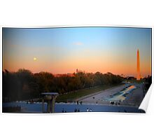 Mall from Lincoln memorial at sunset, full moon Poster