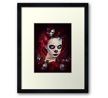 Sugar Doll Red Dia De Muertos Framed Print