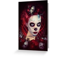 Sugar Doll Red Dia De Muertos Greeting Card