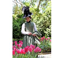 A Colonial Lady in Her Garden Photographic Print