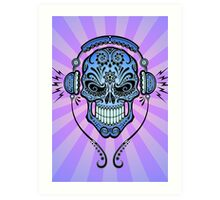Blue DJ Sugar Skull Art Print