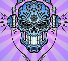 Blue DJ Sugar Skull by Jeff Bartels