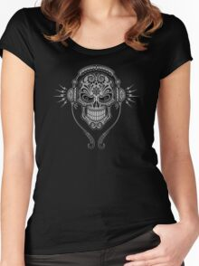 Gray and Black DJ Sugar Skull Women's Fitted Scoop T-Shirt