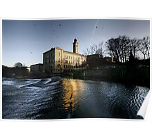 Saltaire Weir and New Mill Poster