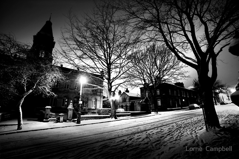 Saltaire Snow Scene at Night by Lorne  Campbell
