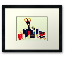 Buttons, Cotton Reels, Scissors And A Thimble Framed Print