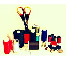 Buttons, Cotton Reels, Scissors And A Thimble Photographic Print
