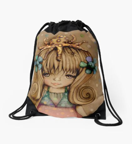 The Girl and the Octopus Drawstring Bag