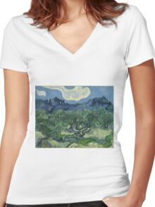 Vincent Van Gogh the olive trees Women's Fitted V-Neck T-Shirt