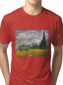 Vincent Van Gogh wheat field with cypresses Tri-blend T-Shirt