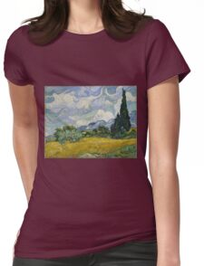 Vincent Van Gogh wheat field with cypresses Womens Fitted T-Shirt