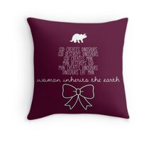 Woman Inherits the Earth - Jurassic Park (White Text) Throw Pillow