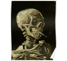 Vincent Van Gogh smoking skeleton Poster