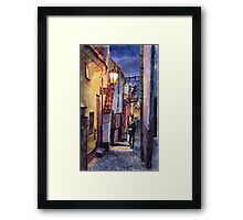 Prague Old Street Golden Line  Framed Print