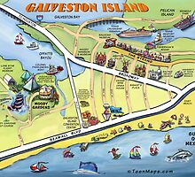 Galveston Texas Cartoon Map by Kevin Middleton