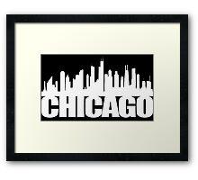 Chicago Skyline - white Framed Print