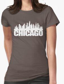 Chicago Skyline - white Womens Fitted T-Shirt