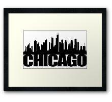 Chicago Skyline - black Framed Print