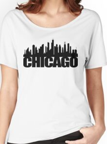 Chicago Skyline - black Women's Relaxed Fit T-Shirt