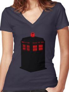 Evil TARDIS Women's Fitted V-Neck T-Shirt