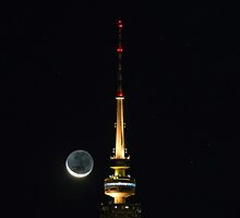 Telstra Tower and Crescent Moon by glennsphotos