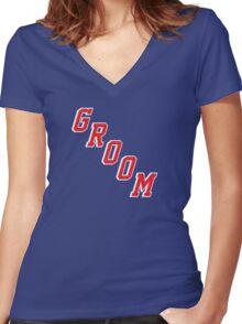 Blue Shirt Groom Women's Fitted V-Neck T-Shirt