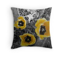 yellow tullip B&W Throw Pillow