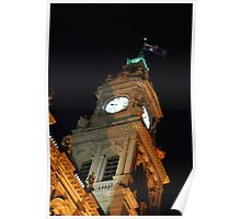Bendigo Clock Tower at night. Poster