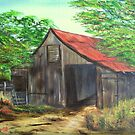 Barn with Red Roof by KenLePoidevin