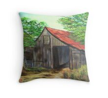 Barn with Red Roof Throw Pillow