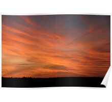 Wild harvest sunset sky Poster