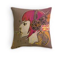 Music to ears, bullet in cradle. Throw Pillow