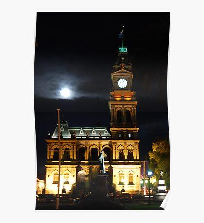 Bendigo's Post Office at night. Poster