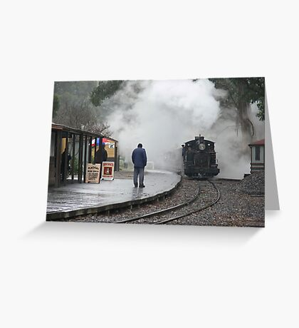 Puffing Billy - Waiting in the Rain. Greeting Card