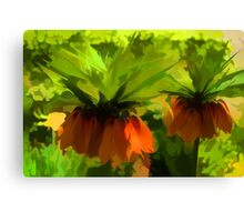 Showy Orange Crown Imperial Flowers - Impressions Of Spring Canvas Print