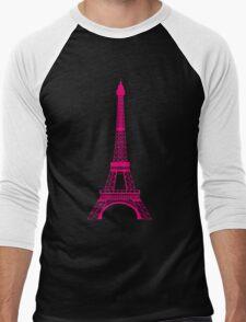 Hot Pink Eiffel Tower Men's Baseball ¾ T-Shirt