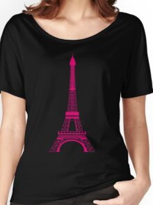 Hot Pink Eiffel Tower Women's Relaxed Fit T-Shirt