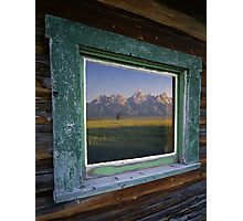 Tetons and Window Photographic Print