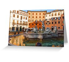 Neptune Fountain on Piazza Navona - Impressions Of Rome Greeting Card