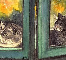 TWO CURIOUS CATS LOOKING OUT OF THE GREEN WINDOW  by RubaiDesign