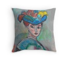 The Woman With The Hat(After Matisse) Throw Pillow