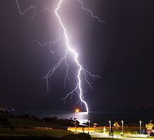 Lightning over Bay - San Remo, Phillip Island  by Andrew Arch