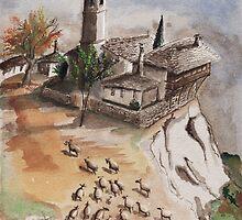 Sheep And a Monastery by Atanas Vasilev
