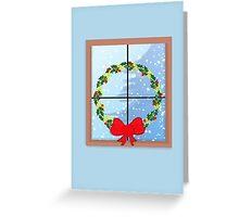 Christmas Window Wreath Greeting Card