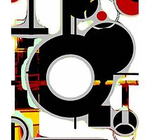 Black, red, white circles abstract modern by ackelly4